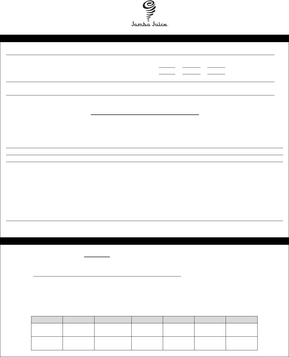Free printable jamba juice job application form falaconquin