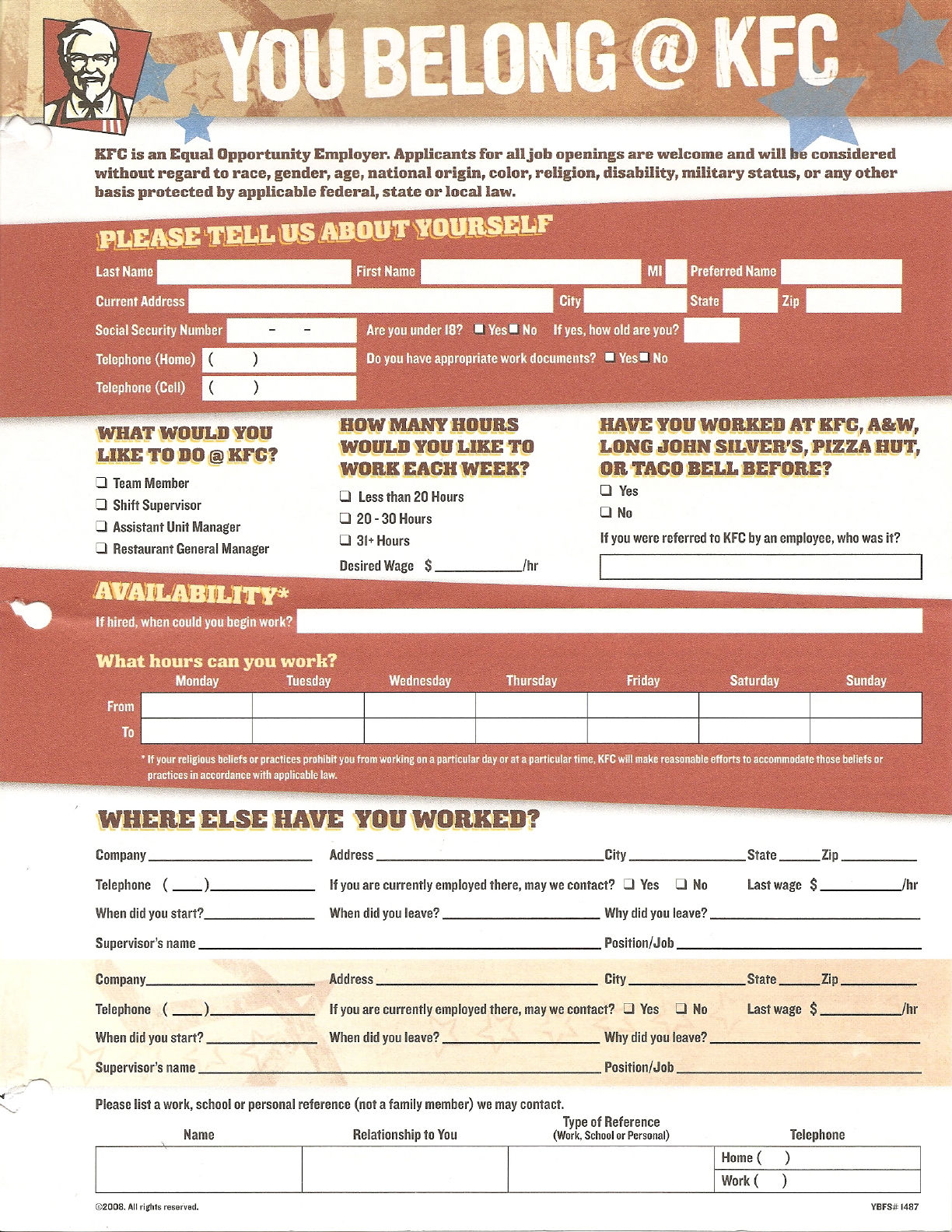 Free Printable KFC Job Application Form