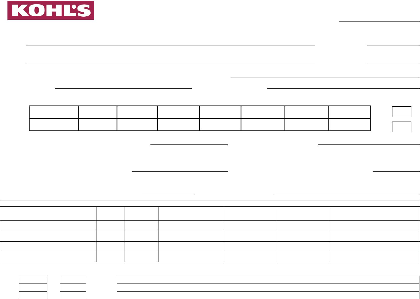 Free Printable Kohl\'s Job Application Form