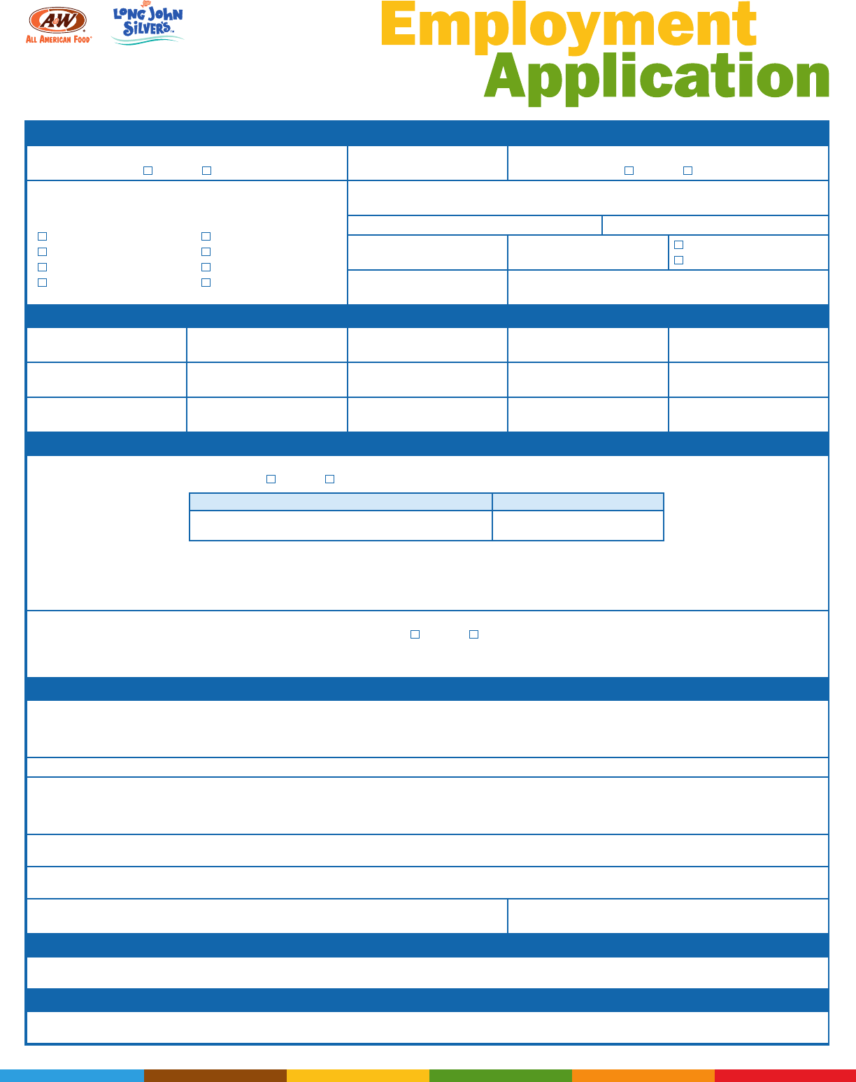 Free Printable Long John Silver\'s Job Application Form Page 2