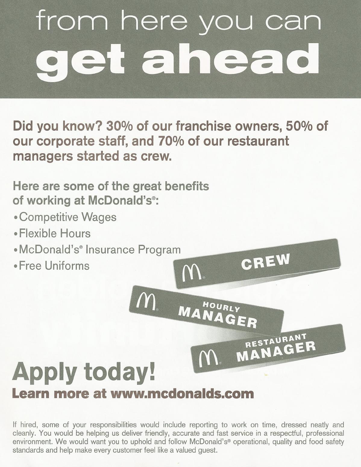Free Printable Mcdonalds Job Application Form Page 2