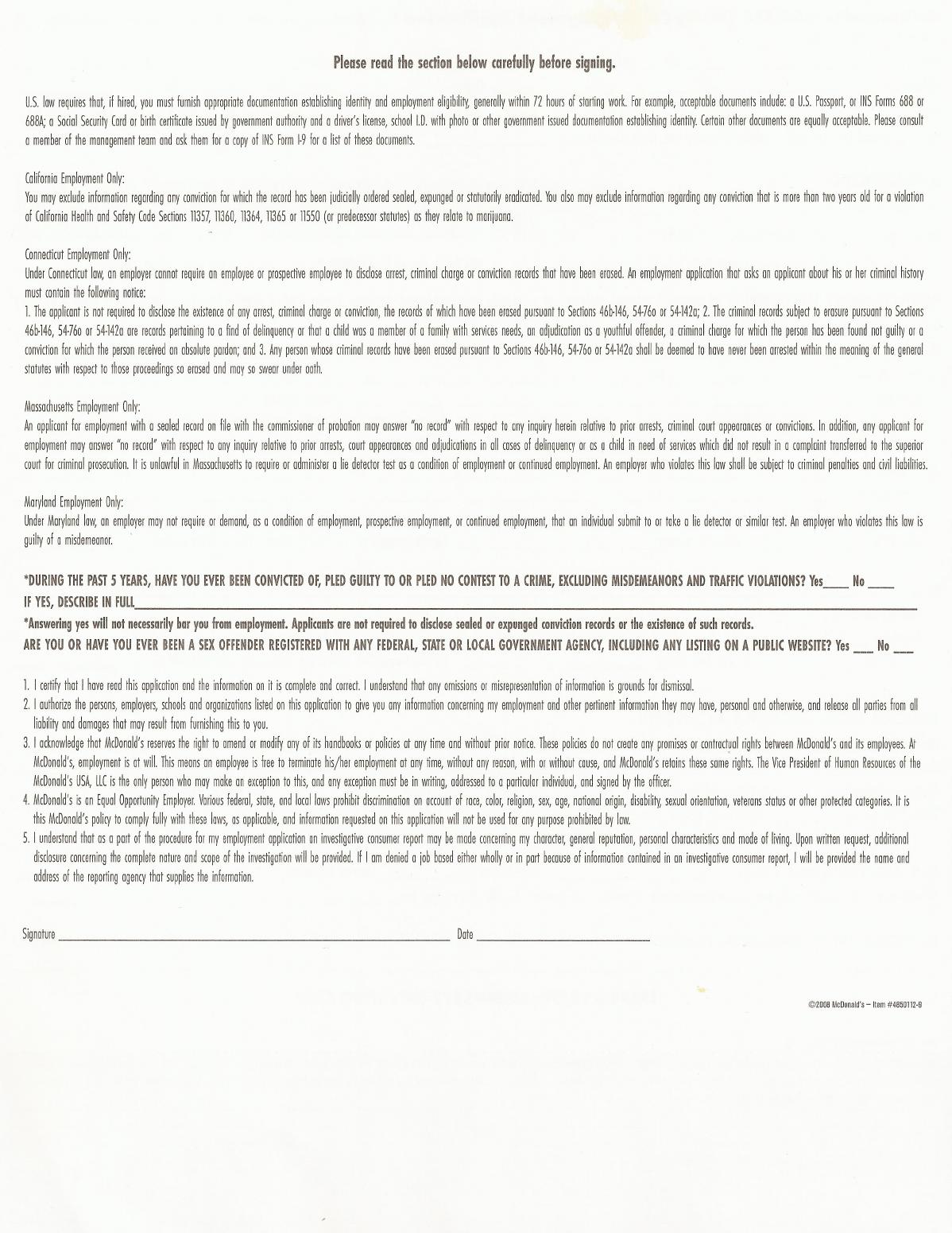 Free Printable McDonald\'s Job Application Form Page 4