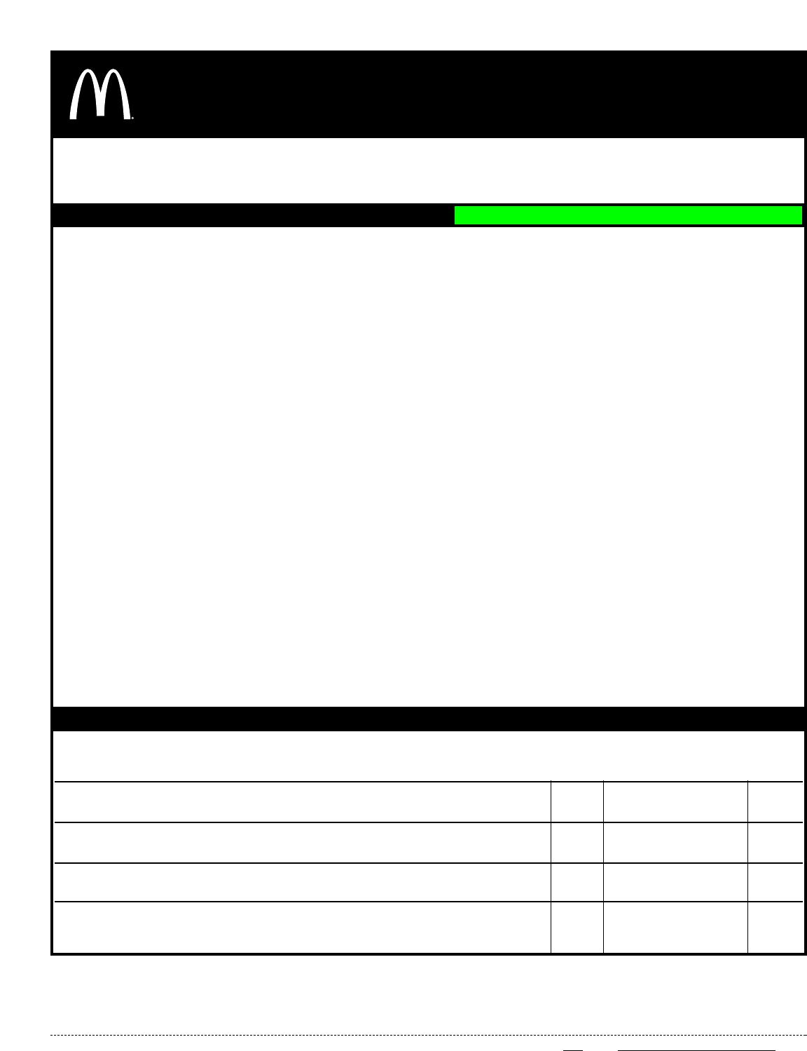 Free Printable McDonald\'s Job Application Form Page 5
