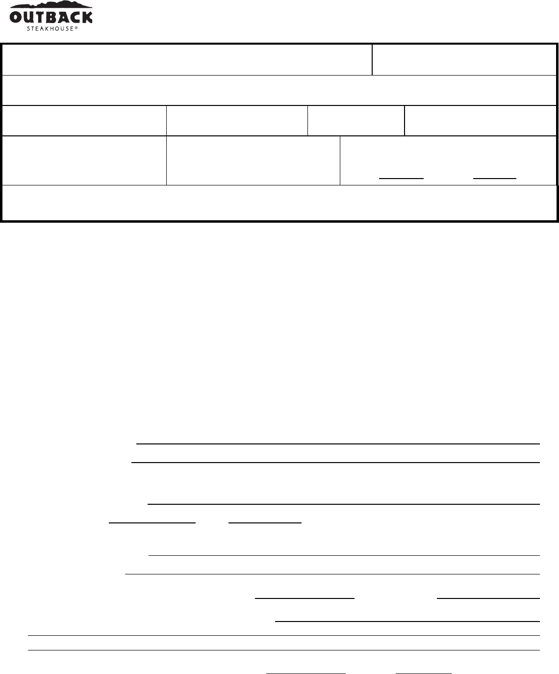 Free Printable Outback Steakhouse Job Application Form