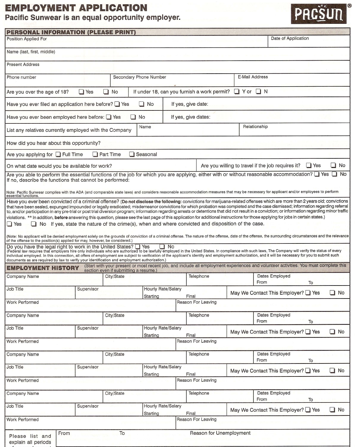 free printable pacsun job application form