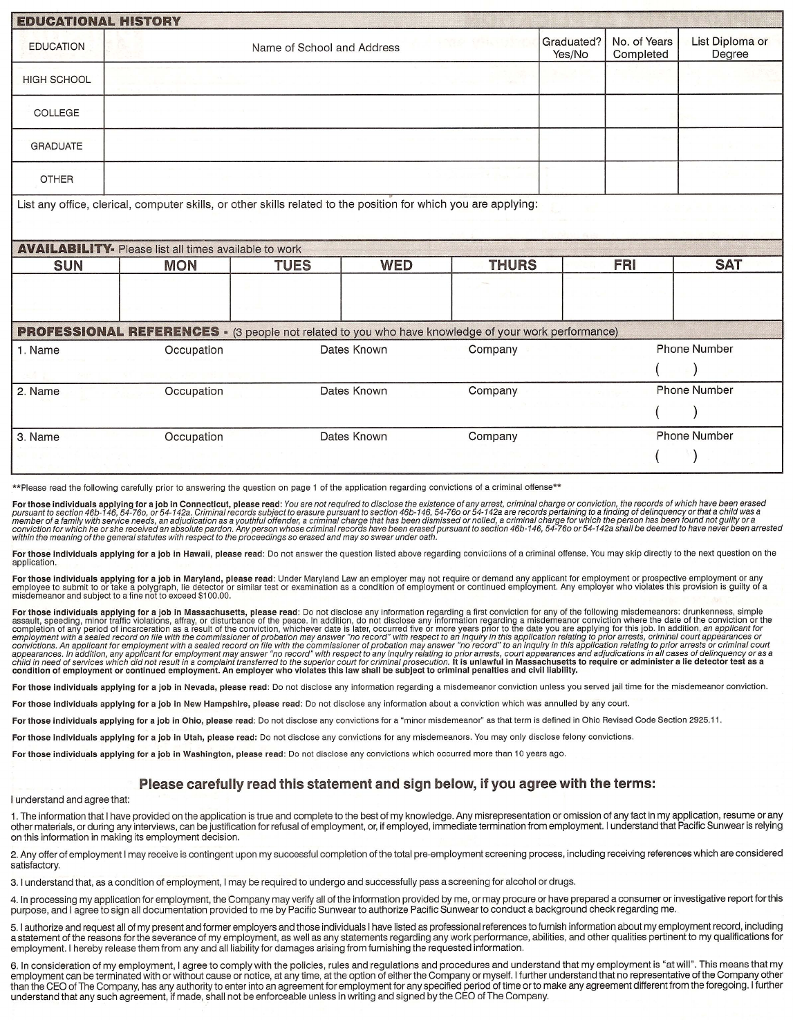 pacsun job application pdf Free Printable PacSun Job Application Form Page 2