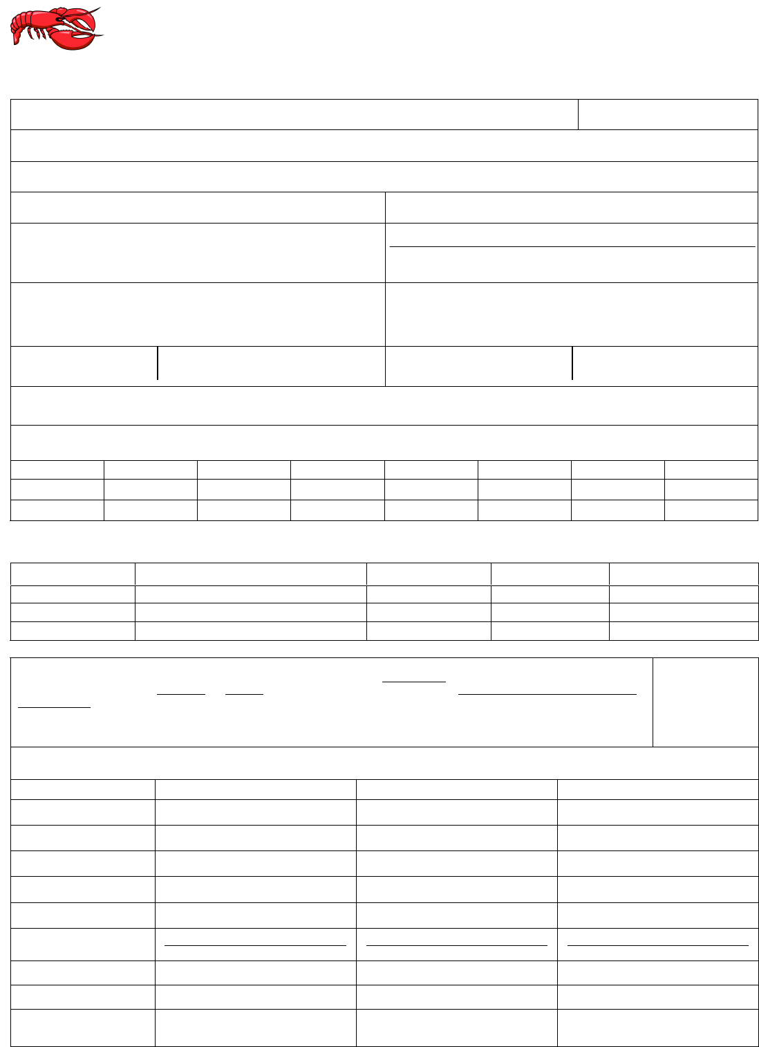 Free Printable Red Lobster Job Application Form