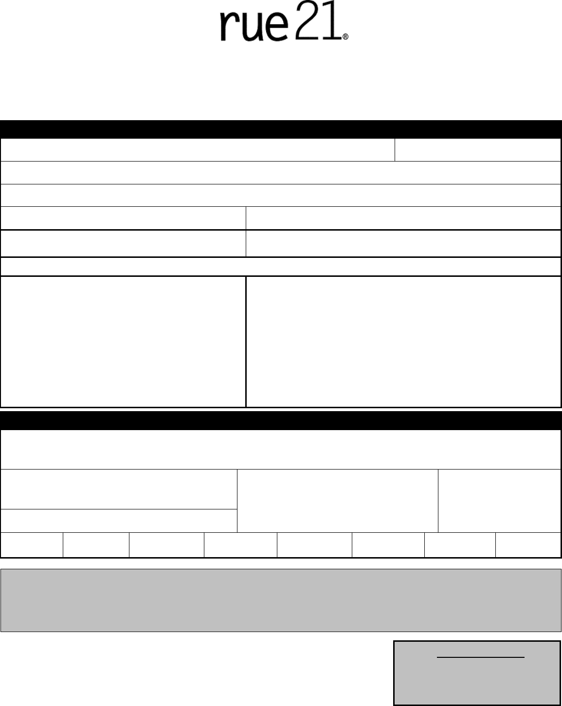 Free Printable Rue 21 Job Application Form