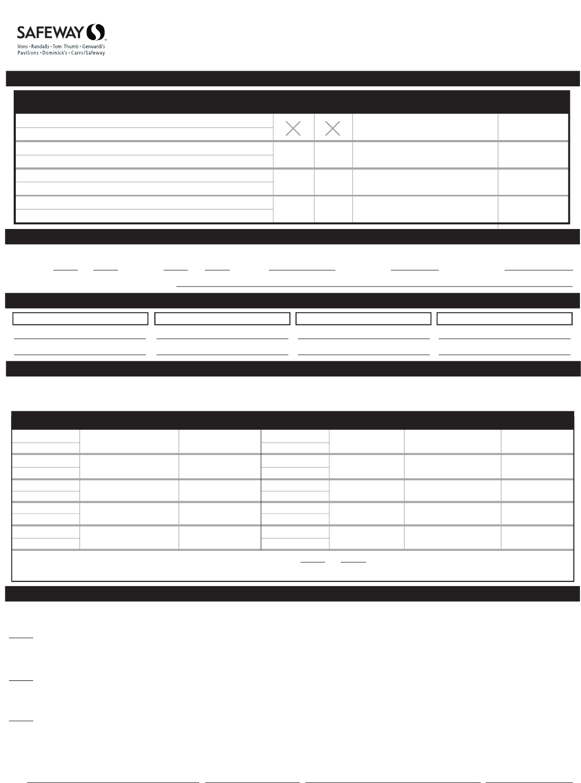 Free Printable Safeway Job Application Form Page 2