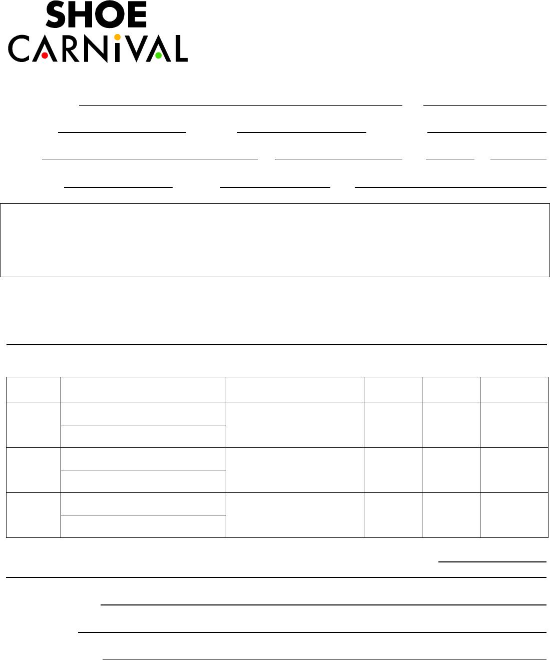 Free printable shoe carnival job application form falaconquin