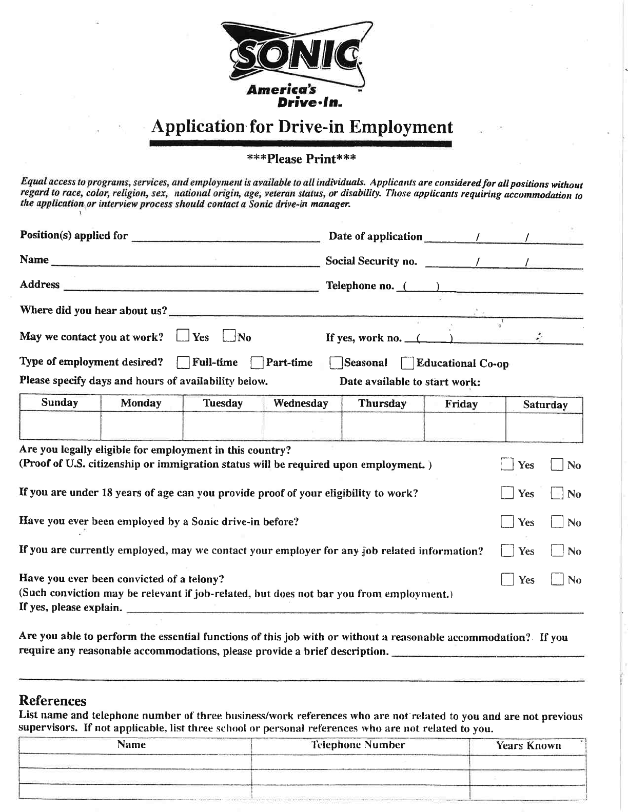 free printable sonic drive in job application form