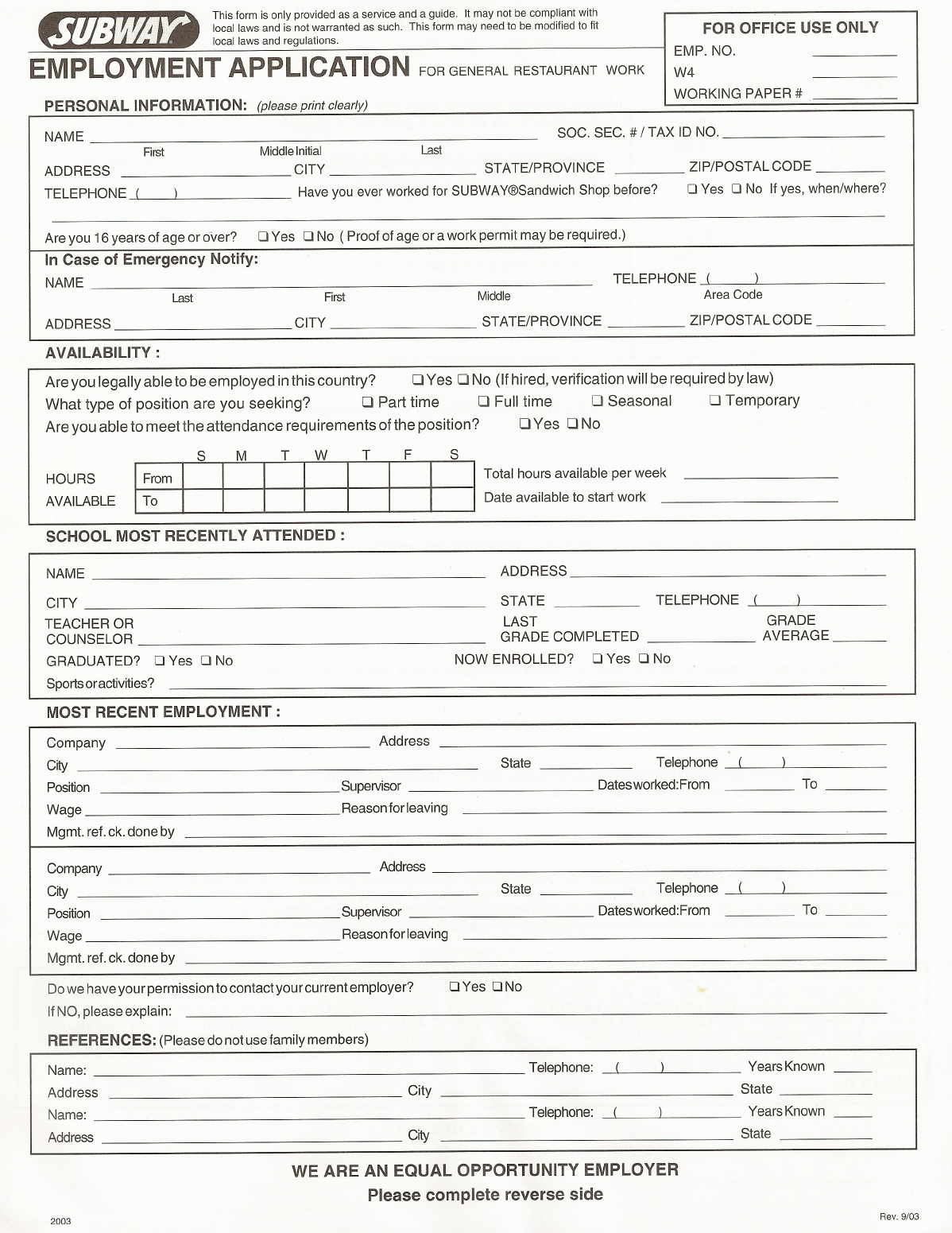 free printable subway job application form
