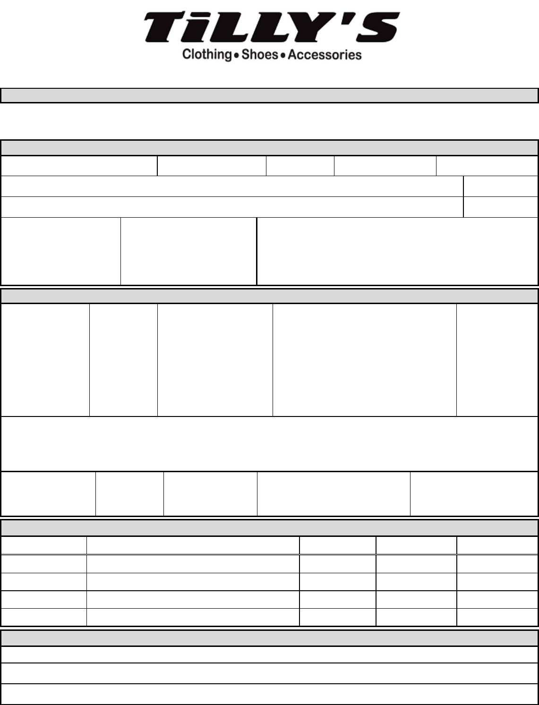 Free Printable Tilly\'s Job Application Form