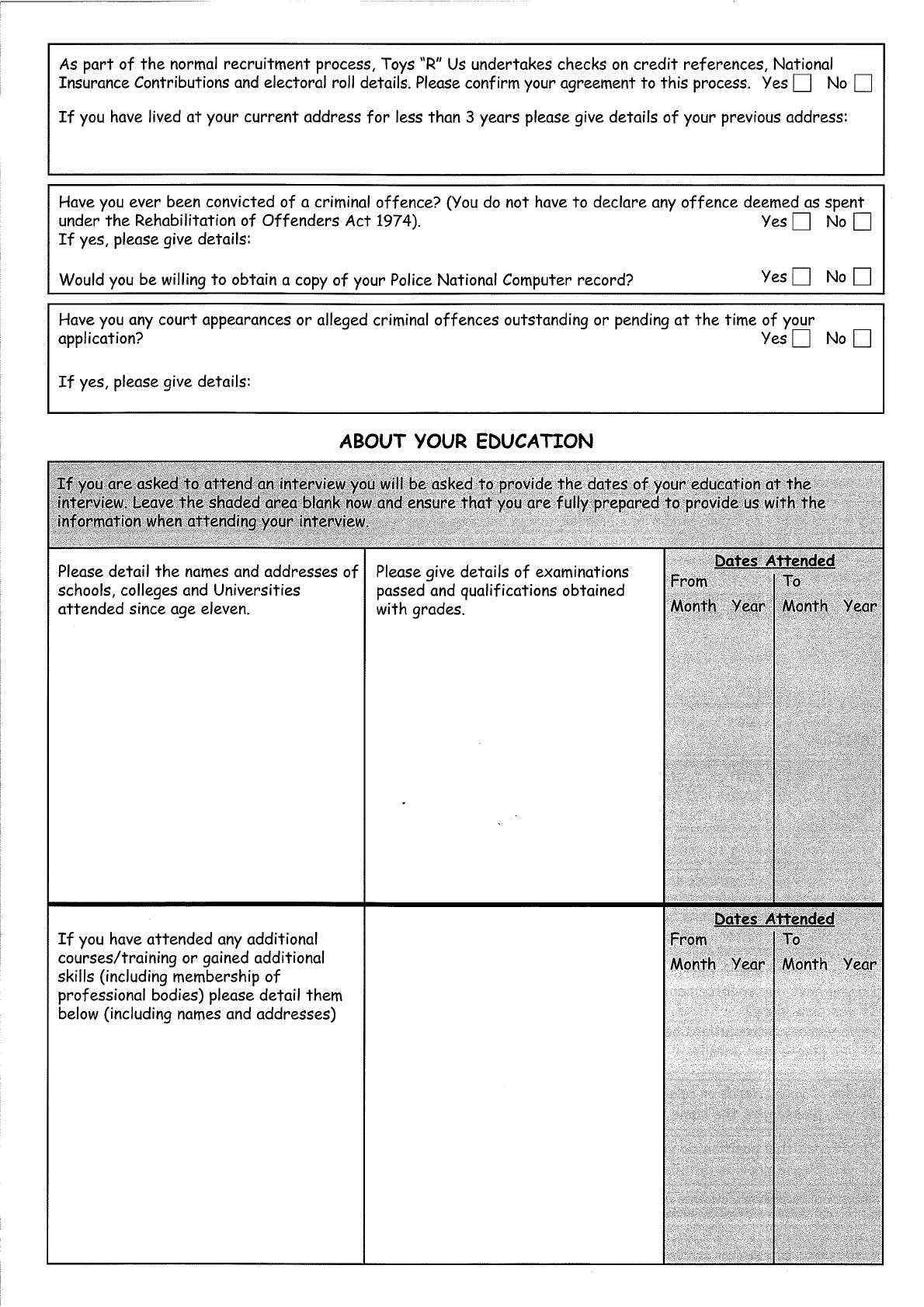 Free Printable Toys R Us Job Application Form Page 2