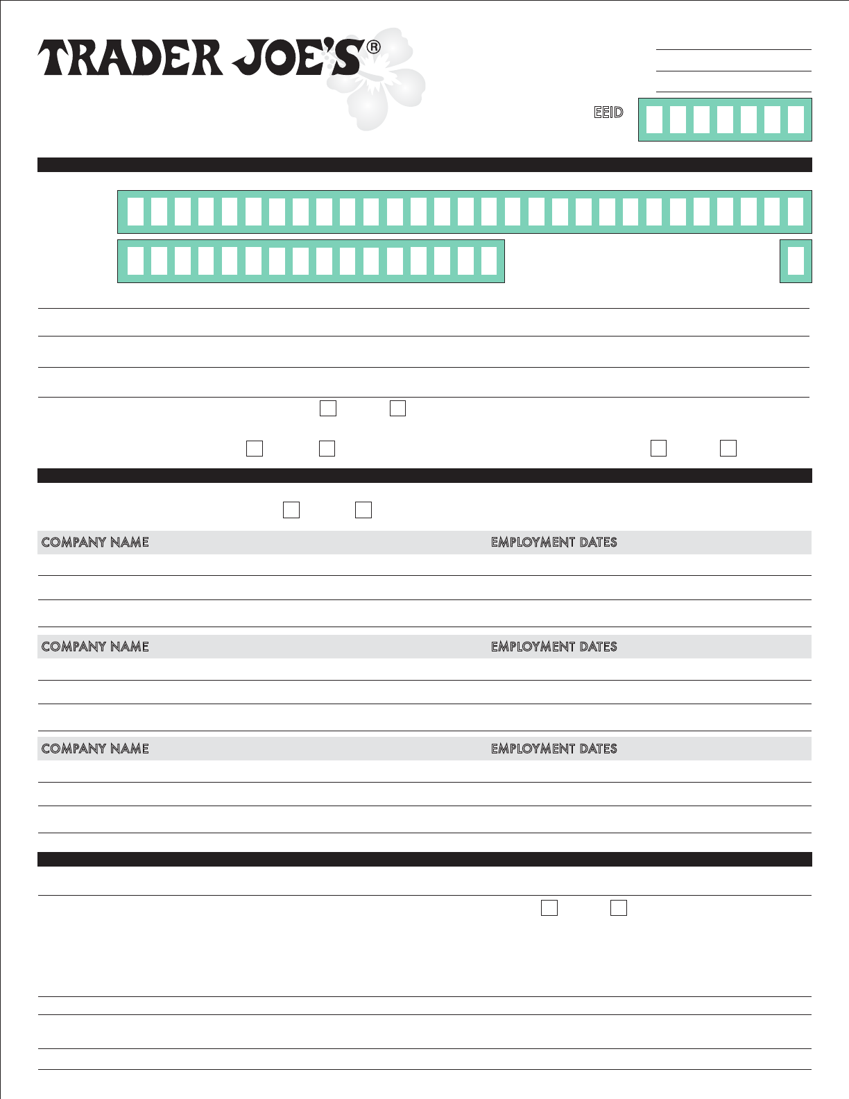 Free Printable Trader Joe\'s Job Application Form