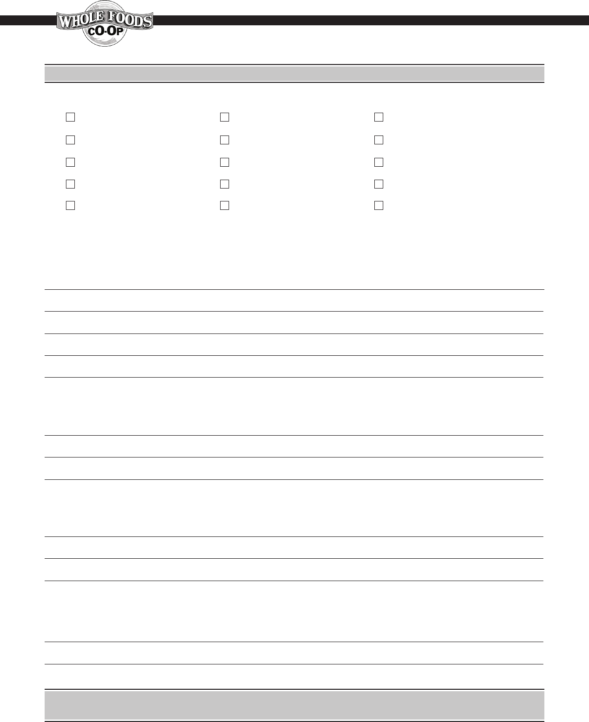 Free Printable Whole Foods Job Application Form Page 5