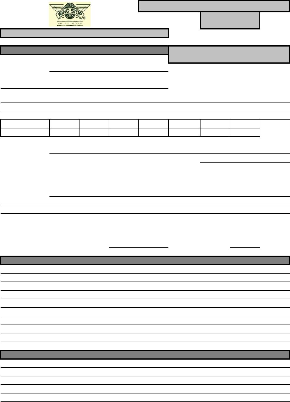 Free Printable Wingstop Job Application Form