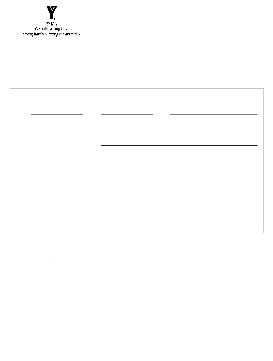 Free Printable YMCA Job Application Form