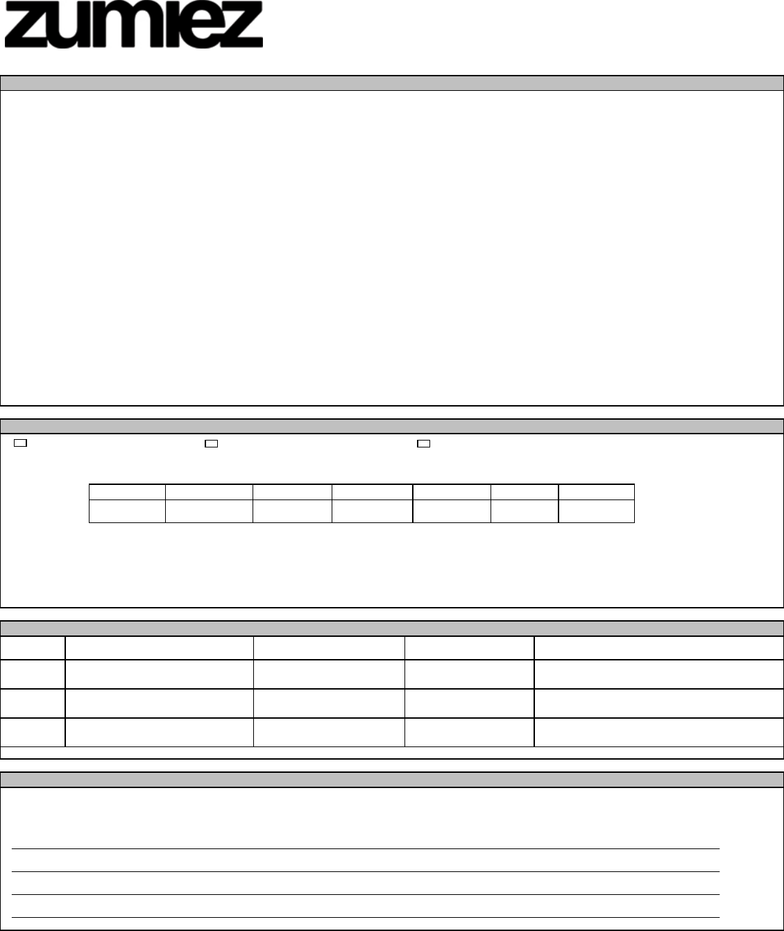 Free Printable Zumiez Job Application Form