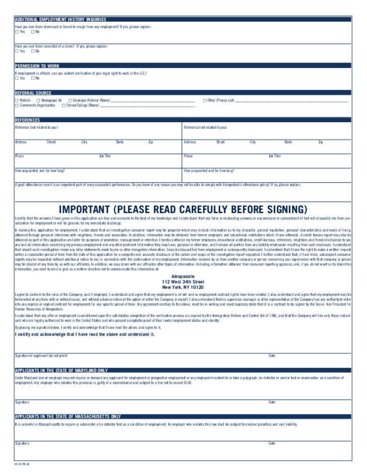 free printable aeropostale job application form page 2