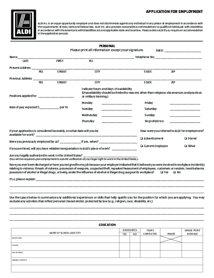Free Printable ALDI Job Application Form – Printable Application for Mployment