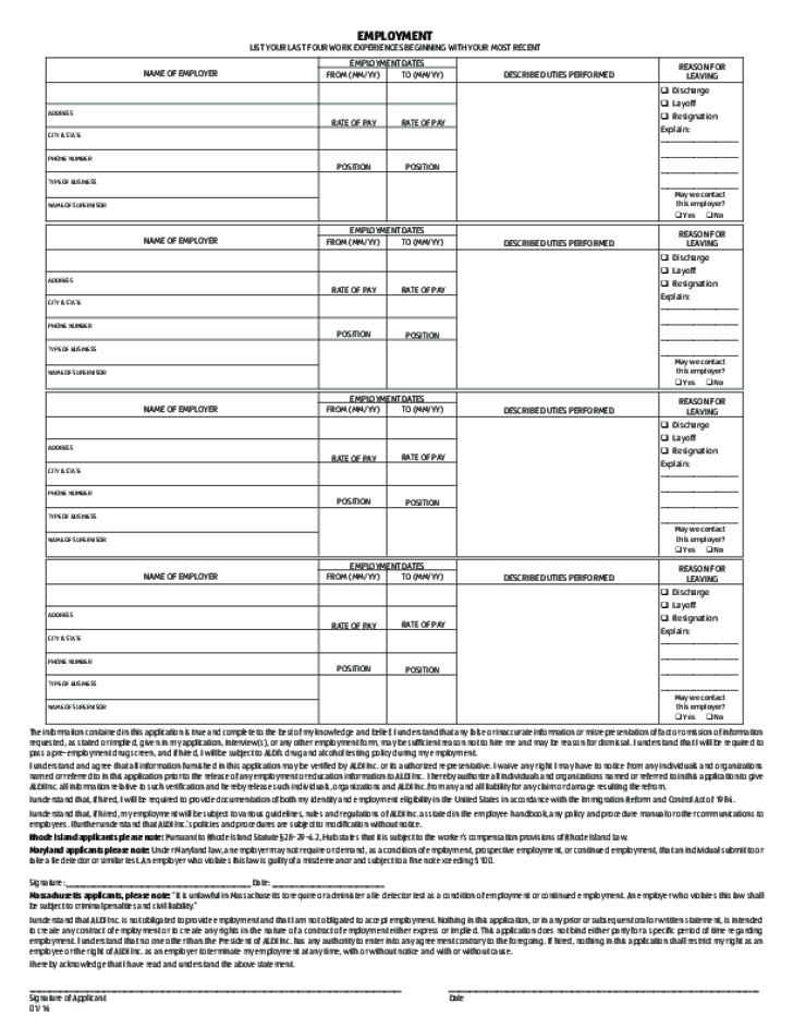 ALDI Application Form Page2