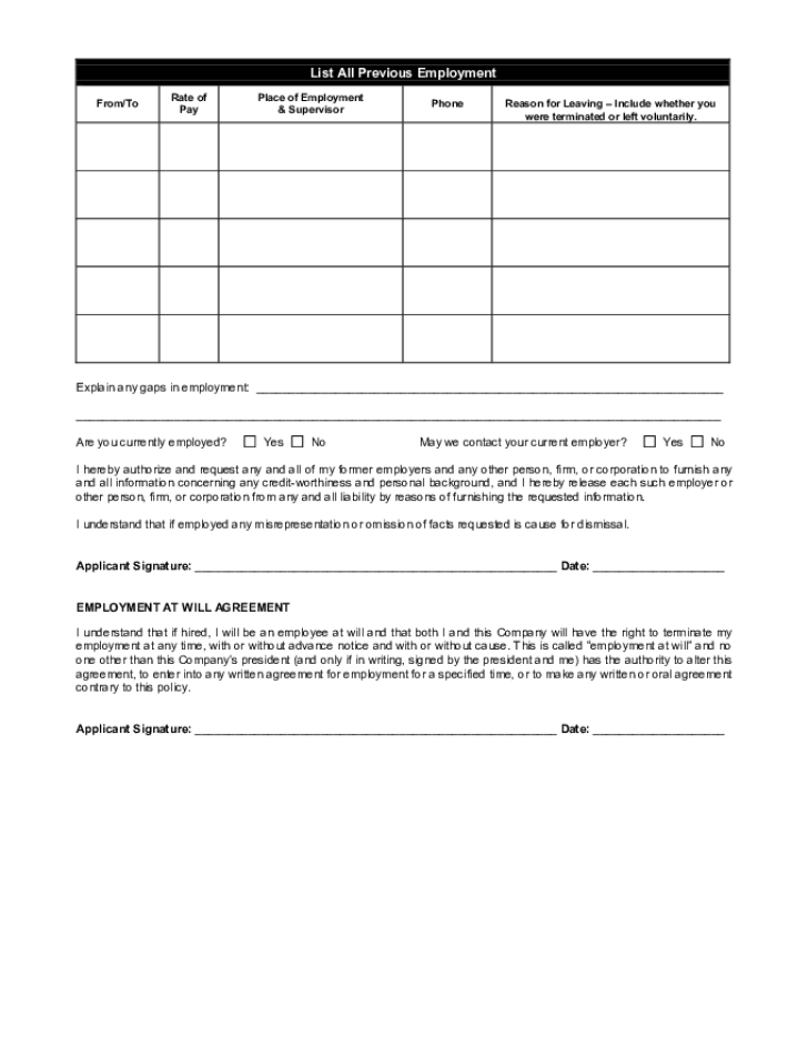 Free Printable Amc Theatres Job Application Form Page 2