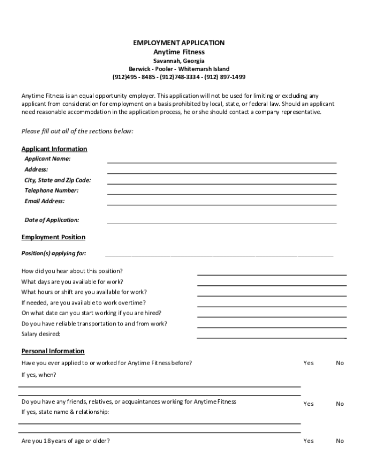 Free Printable Anytime Fitness Job Application Form