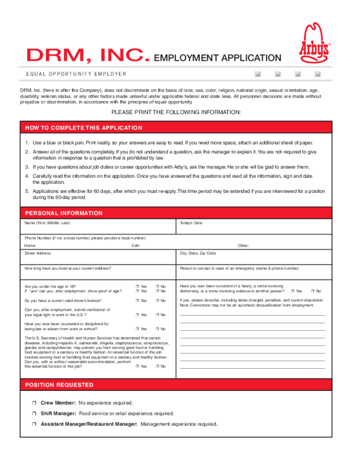 Free Printable Arby's Job Application Form