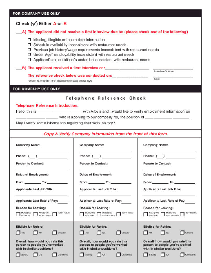 Free Printable Arby S Job Application Form Page 4