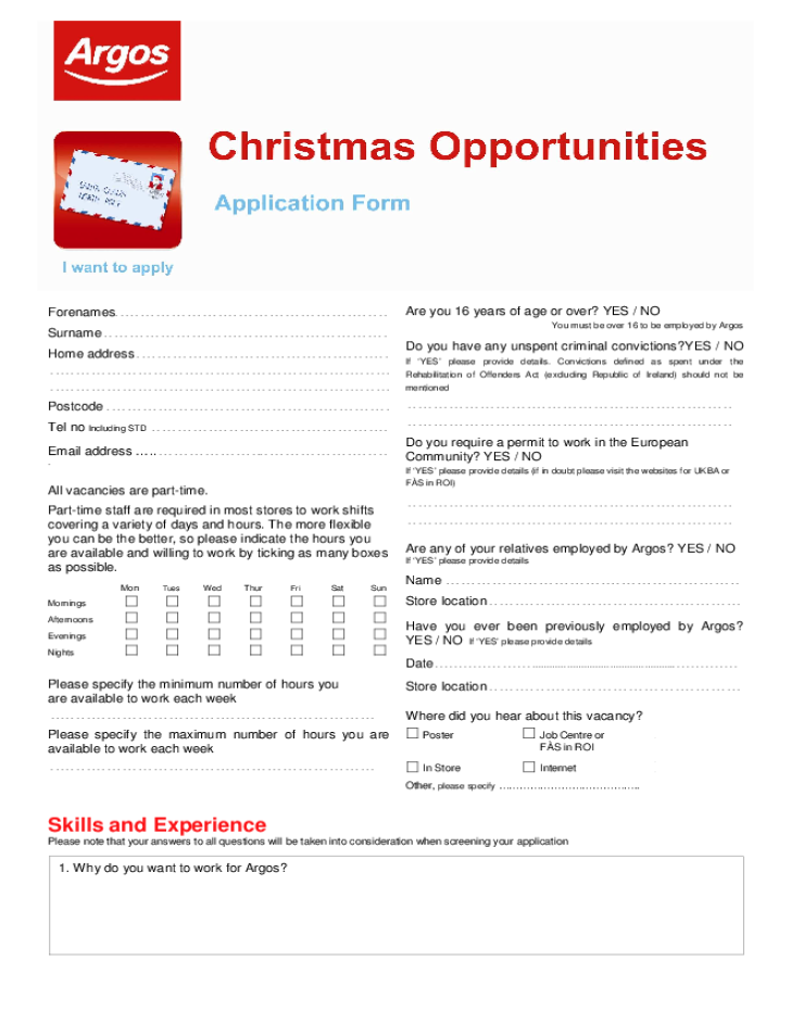 Free Printable Argos Job Application Form