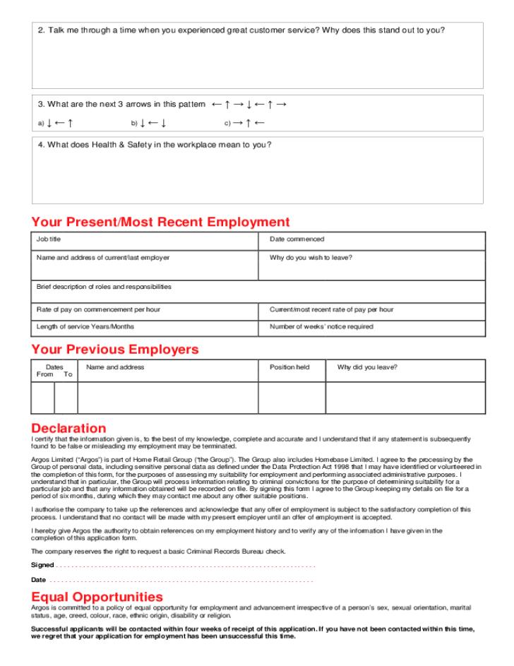 Free Printable Argos Job Application Form Page 2