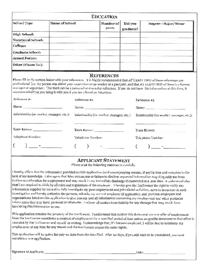 printable blank employment application