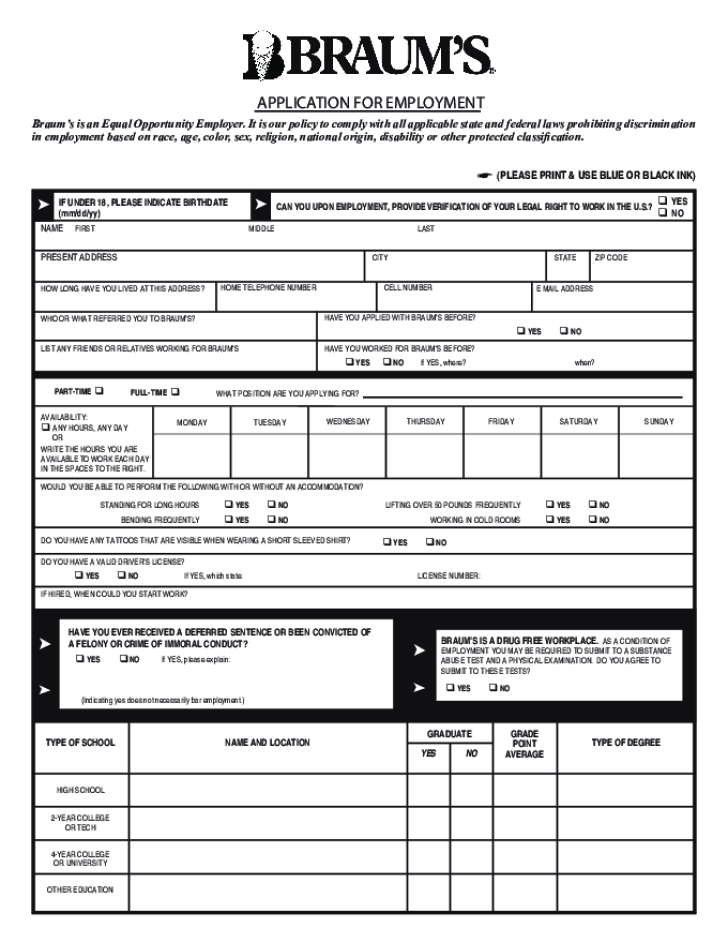 Braum's Application Form