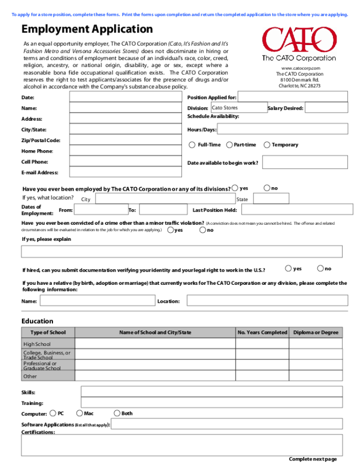 Cato Application Form