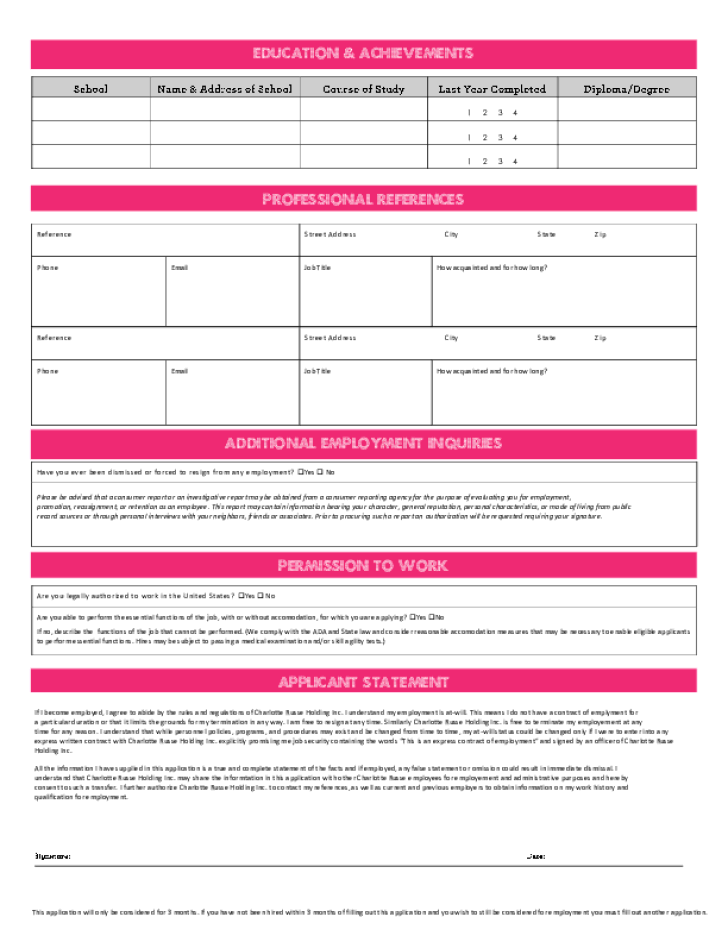 Free Printable Charlotte Russe Job Application Form Page 2
