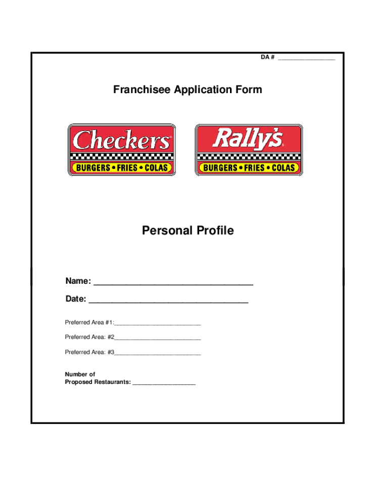 Checkers Drive-In Application Form