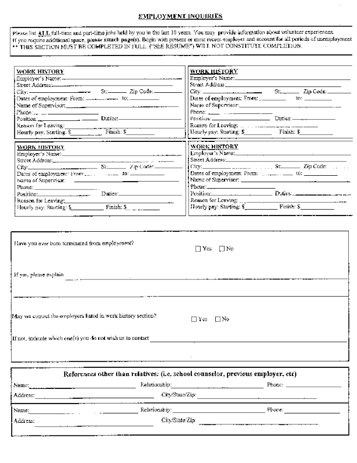 Free Printable Chuck E Cheese S Job Application Form Page 2