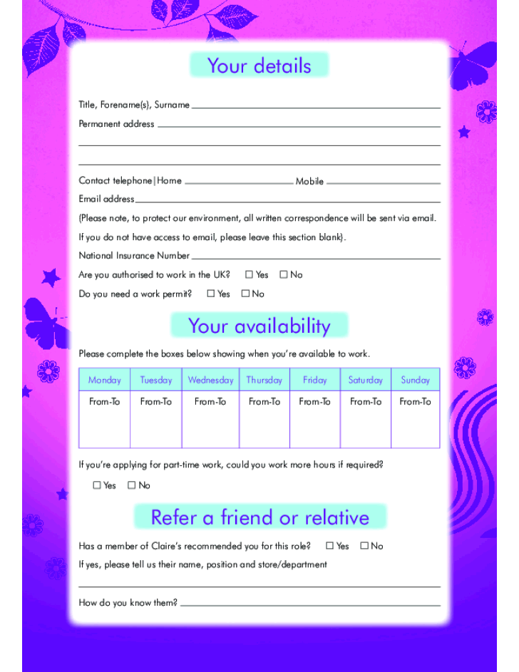 Free Printable Claire's Job Application Form Page 3