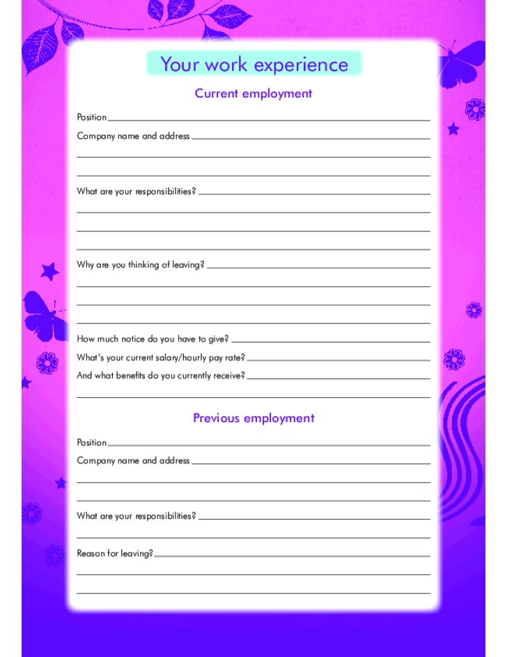 free printable claire u0026 39 s job application form page 4