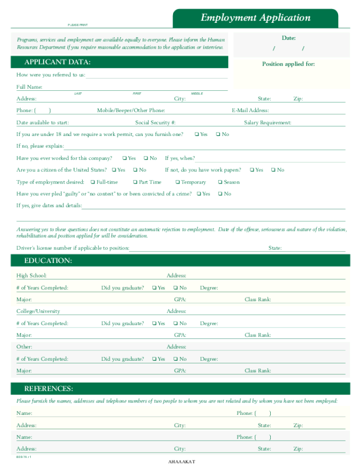 Free Printable Comfort Inn Job Application Form