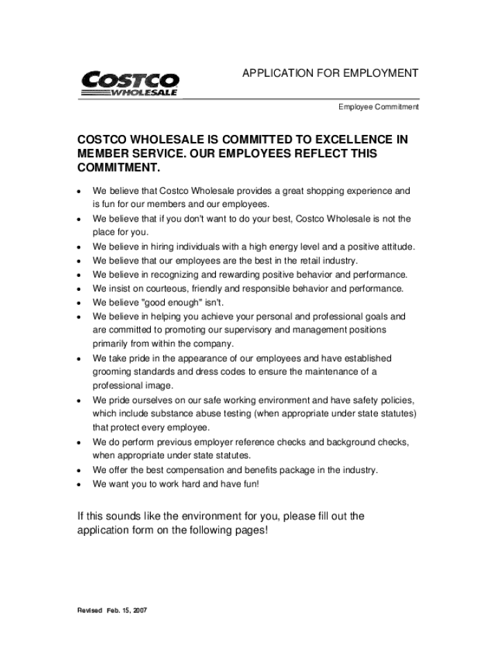 free printable costco job application form page 2
