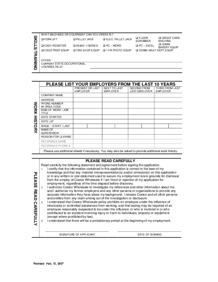 costco printable job application form pdf