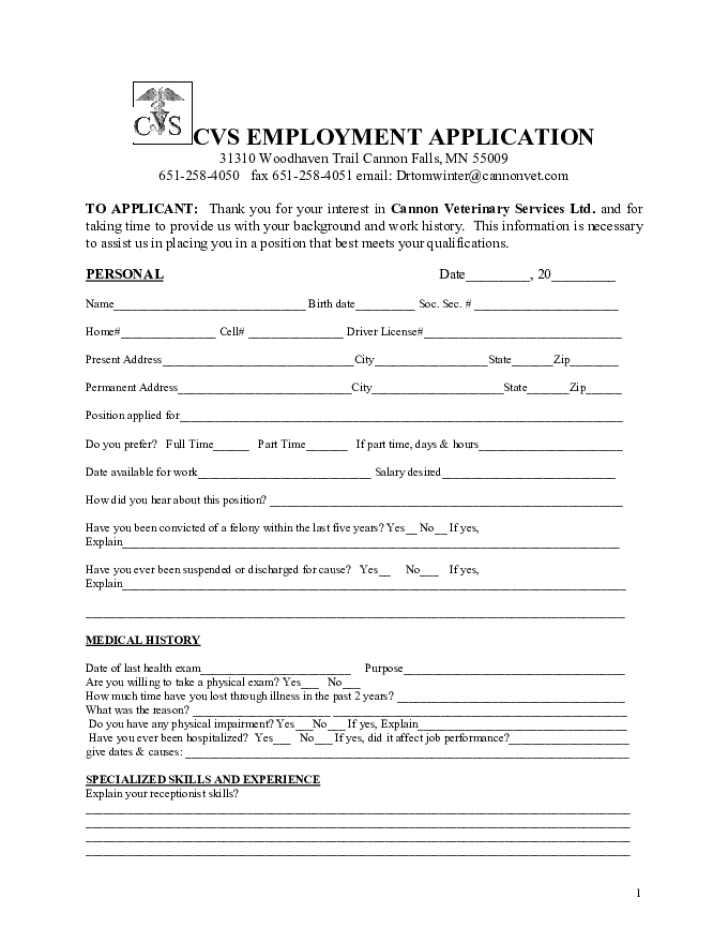 free printable cvs job application form