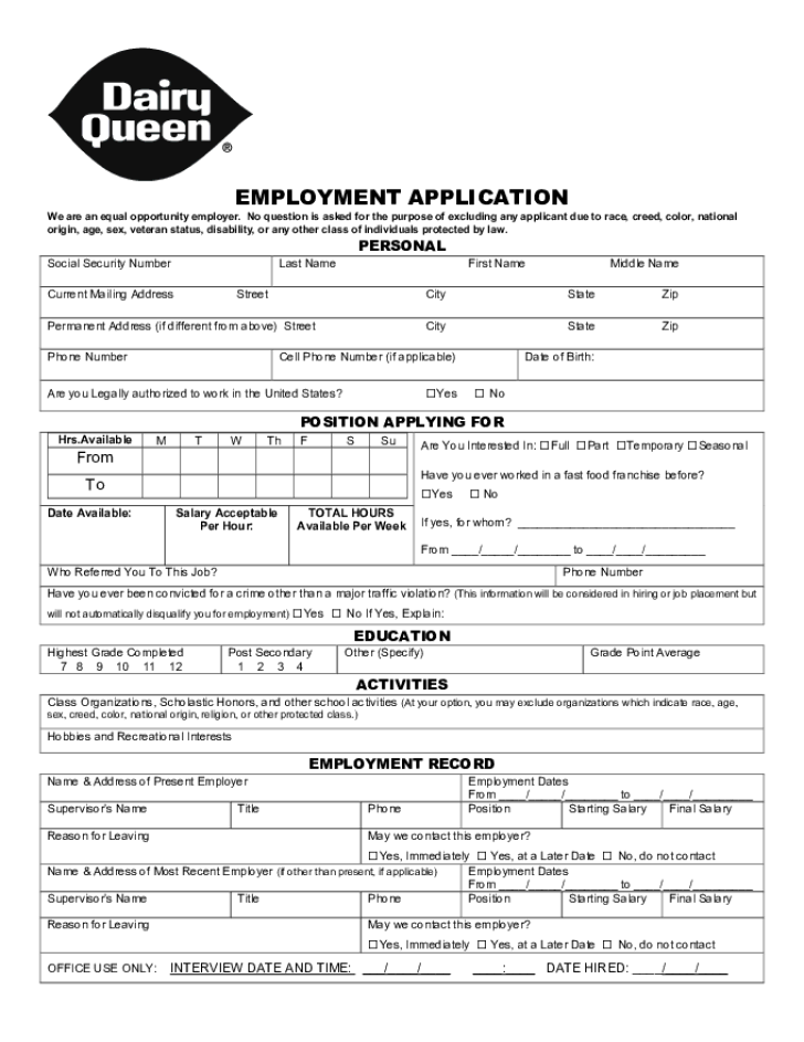 Free Printable Dairy Queen Job Application Form – Printable Application