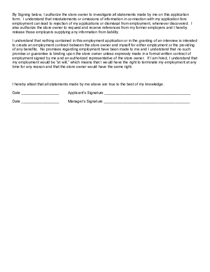 Dairy Queen Application - Employment Application Form