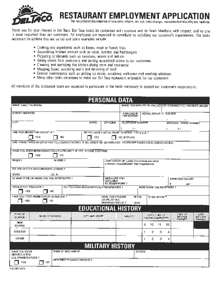 Free Printable Del Taco Job Application Form
