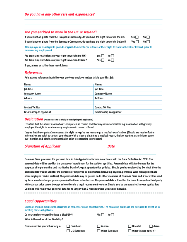 Free Printable Domino S Job Application Form Page 2