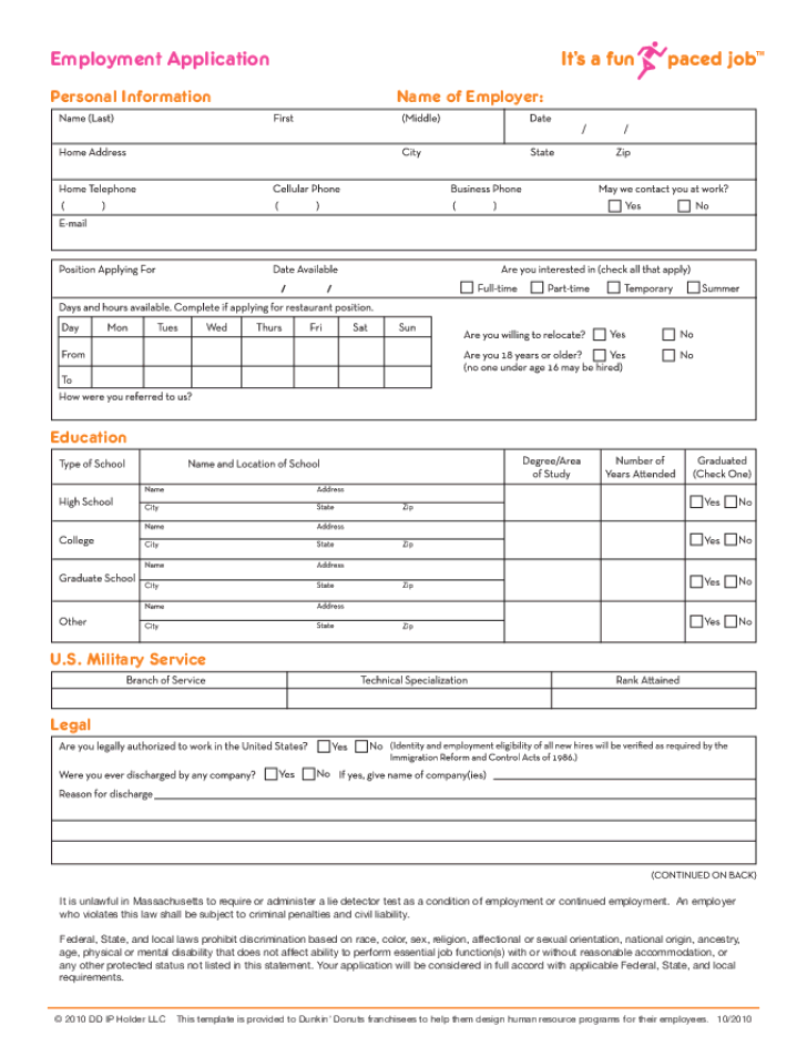 Free Printable Dunkin Donuts Job Application Form