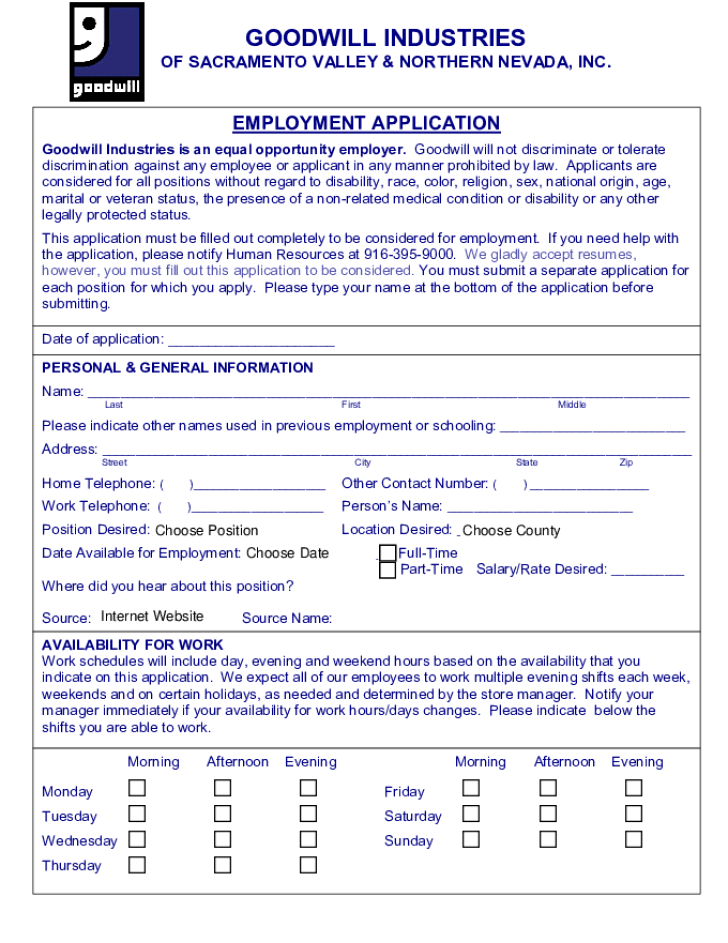 free printable goodwill job application form